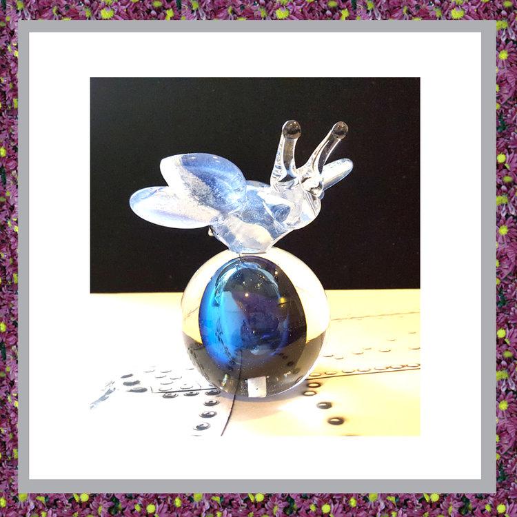 Glasbol Vlinder Blauw