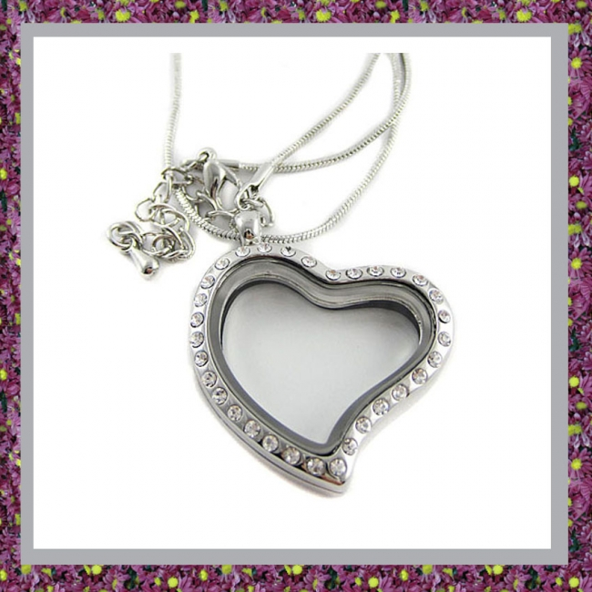 Hart Medaillon van zilverkleurig groot 14