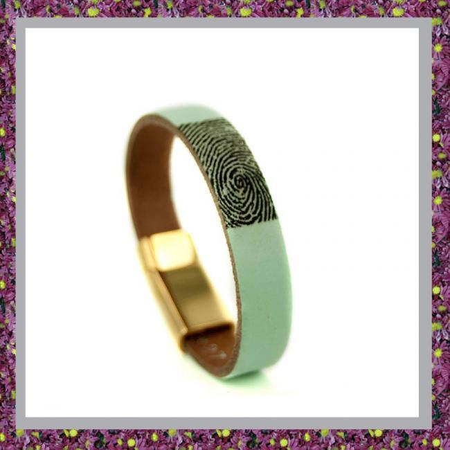 Lederen Armband Mint met Vingerafdruk
