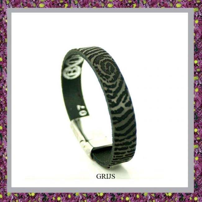 Lederen Armband Zwart met Vingerafdruk