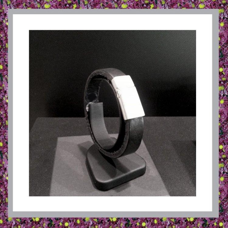 Lederen Armband Zwart met asbuisje