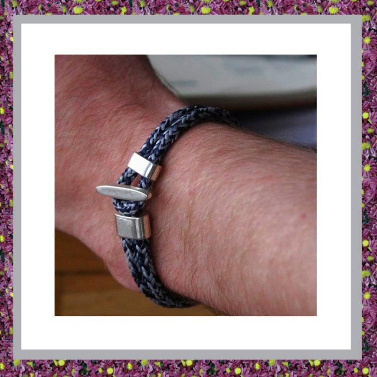 Armbandkoord Blauwgrijs met askraal