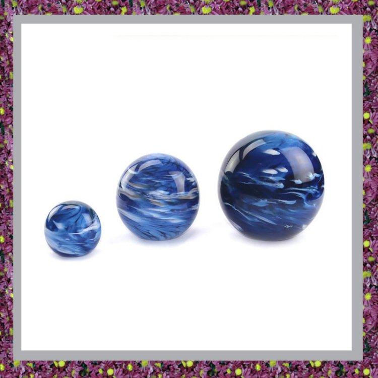 Glasreliek Bol Marble Blue M