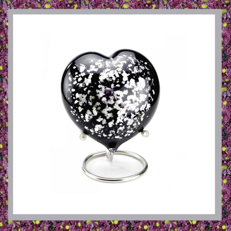Glasreliek Hart Zwart Zilver L