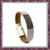Lederen Armband Lila met Vingerafdruk_