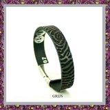 Lederen Armband Zwart met Vingerafdruk_