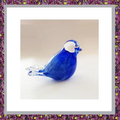 Glazen Vogeltje Blauw
