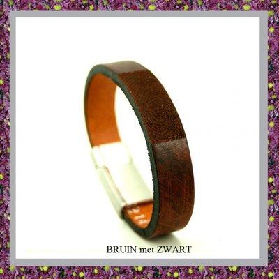 Lederen Armband Rood Bruin met Vingerafdruk