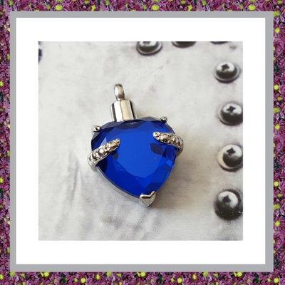AHH306 Assieraad Hart met Blauw Glas