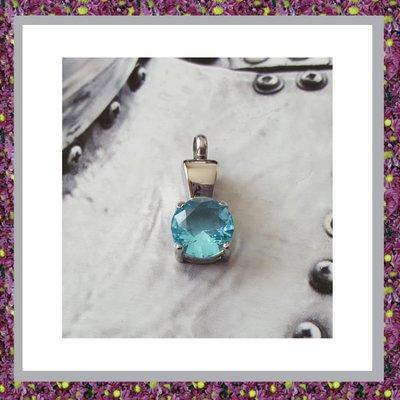 Hangertje met aquablauw glas
