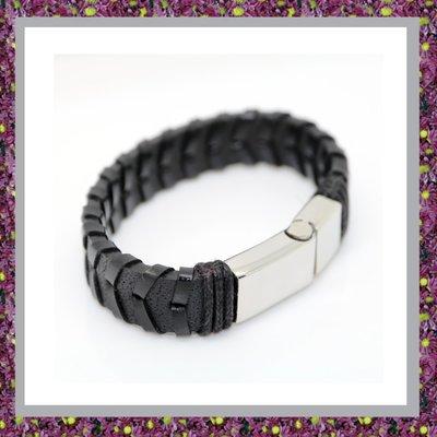 Lederen Armband Zwart met ascompartiment MO-GA