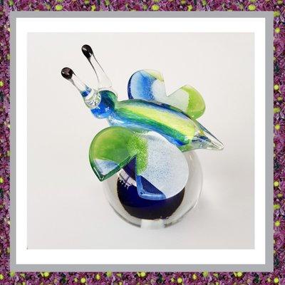 Glasbol Vlinder Groen Blauw