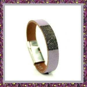 Lederen Armband Lila met Vingerafdruk