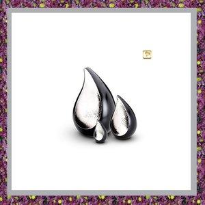 Traan Miniurn Zwart met Glanzend Zilverkleur