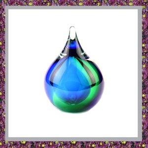 Glasreliek Asdruppel Bubble Blauwgroen
